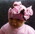 Gehaakte baby muts roze met grote strik