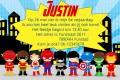 Superhelden kinderfeestje uitnodiging met eigen naam (10, 15 of 20 st)