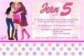 Barbie kinderfeestje uitnodiging met eigen naam (10, 15 of 20 st)
