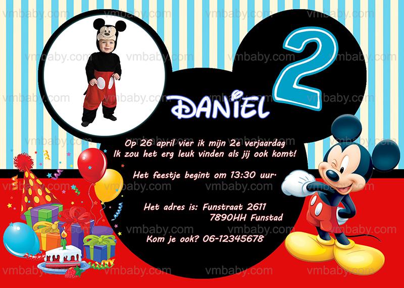 Mickey Mouse Feestje uitnodiging met eigen naam (10, 15 of 20 st) - VM