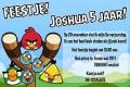 Angry Birds kinderfeestje uitnodiging met eigen naam (10, 15 of 20 st)