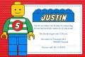 Lego kinderfeestje uitnodiging met eigen naam (10, 15 of 20 st)