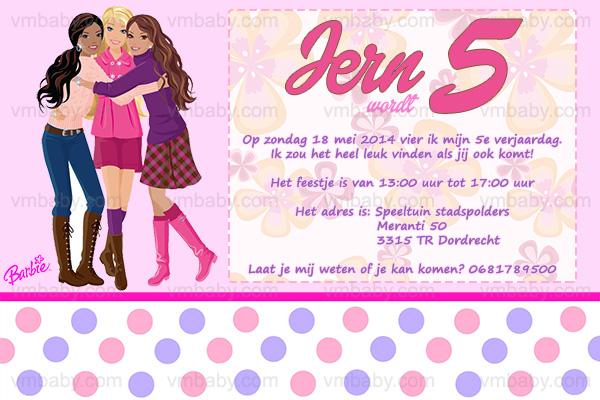 Geliefde Barbie kinderfeestje uitnodiging met eigen naam (10, 15 of 20 st #AC47