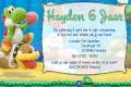 Yoshi Woolly World kinderfeestje uitnodiging met eigen naam (10, 15 of 20 st)