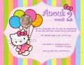 Hello Kitty uitnodiging met eigen naam en foto (10, 15 of 20 st)