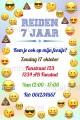 Emoji kinderfeestje uitnodiging met eigen naam (10, 15 of 20 st)