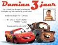 Cars uitnodigingen kinderfeestje met eigen naam en foto (10, 15 of 20 st)